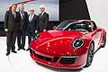 World premiere Porsche 911 Targa 4 GTS (right to left) Matthias Muller, Bernhard Maier, Wolfgang Hatz and Detlev von Platen. at the 2015 NAIAS in Detroit